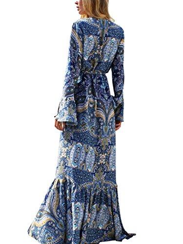 Berrygo Women's Boho V Neck Split Ruffled Floral Print Chiffon Elegant Summer Beach Wrap Floor Length Maxi (Plus Size Fairy Dress)