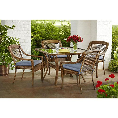 Spring Haven Brown All-Weather Wicker 5-Piece Patio Dining Set with Sky Cushions - Hampton Bay Wicker Furniture