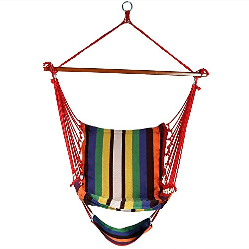 - Sunnydaze Hanging Hammock Chair Swing with Footrest, Padded Soft Cushions, Indoor/Outdoor, 330 Pound Capacity, Sunset