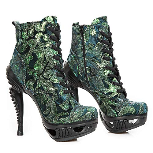 Rock Heel Ladies S31 Shoes Women's Gothic M Leather MAG016 New Punk Green Heavy pqdZd