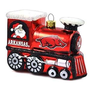 NCAA Arkansas Razorbacks Blown Glass Train Ornament