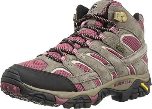 Merrell Women's Moab 2 Mid Waterproof Hiking Boot, Boulder/Blush, 8 M US