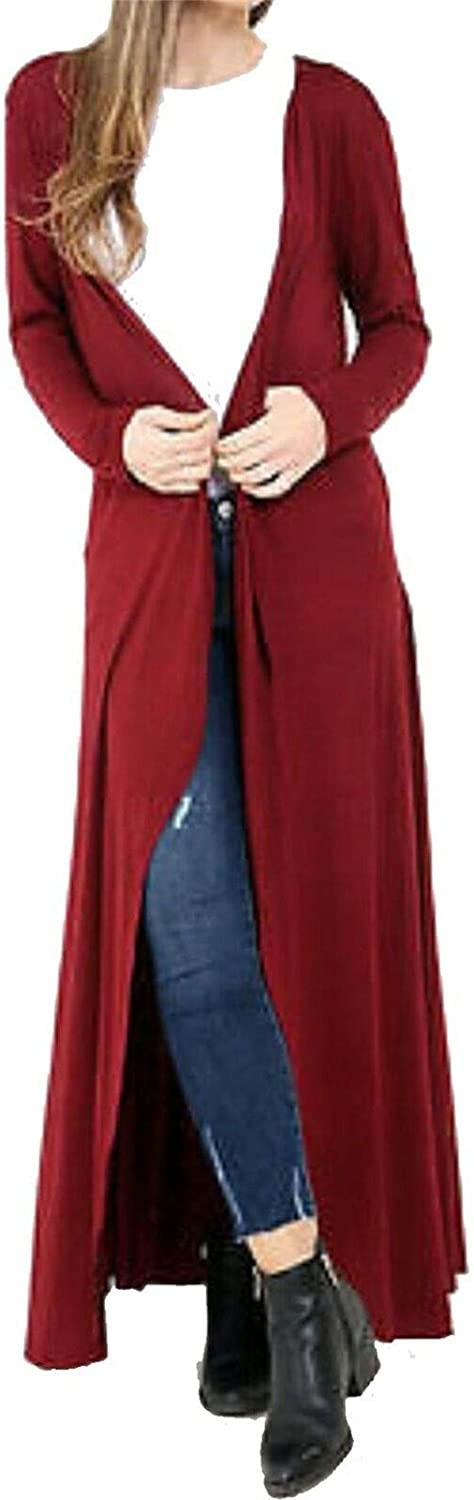 REAL LIFE FASHION LTD Womens Sleeveless Open Front Collared Maxi Cardigan Top
