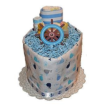 Amazon.com: Tarta de pañales náutico, ballena tema pastel de ...