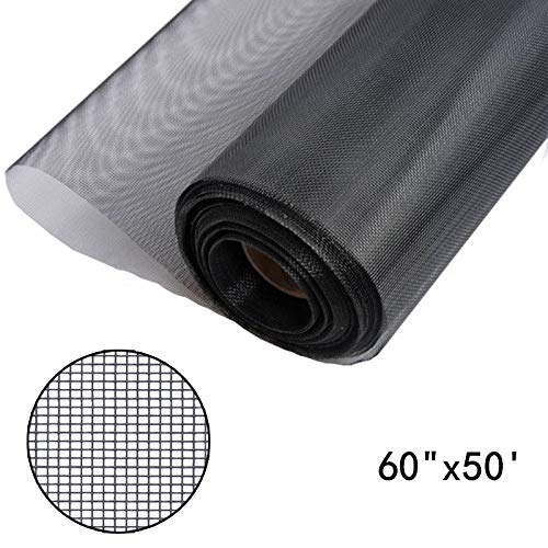 Shatex Window Screen Mesh, DIY Fiberglass Screen Replacement Black Mesh Fabric, Moquito/Insect Barrier, Invisible & Fireproof 60