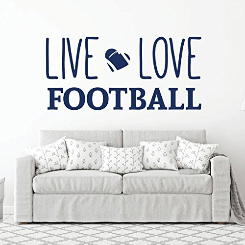 Live Love Football Wall Decal - Vinyl Art Sticker for Bedroom, Home Decor, Playroom or Game Room Decoration by CustomVinylDecor (Image #1)