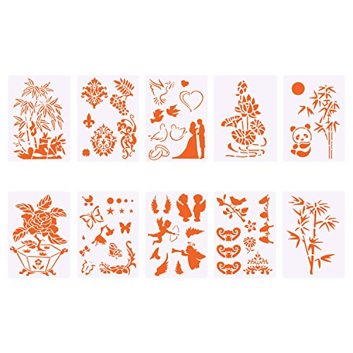 Hongfa Plastic Stencils for Bullet Journal Painting Craft,Stencils for Children Creation,Scrapbooking, DIY Albums Accessories,Card and Craft Projects,Pack of 10