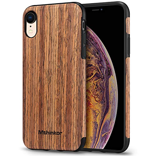 Mthinkor Compatible with iPhone XR Case Soft Wood Slim Case (Red Sandalwood)