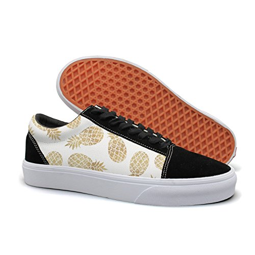 PDAQS Golden Pineapples Fruit White Women Canvas Shoes Oldskoo Slip On Shoes Low Top