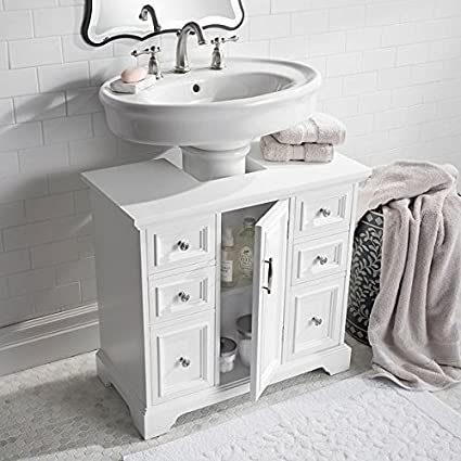 Beautiful Classic White Under Pedestal Sink Cabinet Vanity Bathroom Storage Cupboard  Caddy