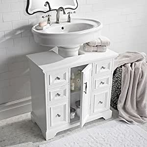 Amazon.com: Classic White Under Pedestal Sink Cabinet ...
