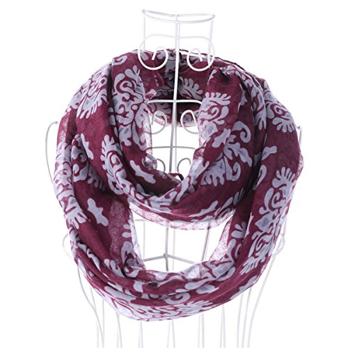Infinity Scarf For Summer Women Fuchsia Hoyou Lightweight Floral Print Chiffon Looped Scarves (Looped Scarf)