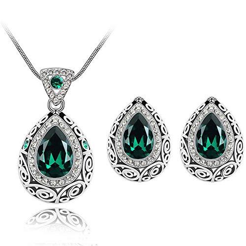 AILUOR Fashion Waterdrop Crystal Jewelry Set, Retro Vintage Celtic Knot Waterdrop Green Gemstone Water Drop Pendant Necklace Stud Earrings Jewelry Set for Women Mother Bridal Wedding (Green) ()