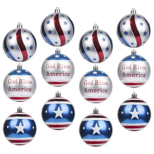 (KI Store Patriotic Ball Ornaments Set of 12 Large Christmas Tree Balls American Flag Decorations for Independence Day Christmas Party Bonus 6 United States Flag)
