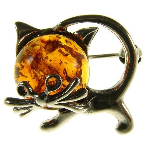 BALTIC AMBER AND STERLING SILVER 925 DESIGNER COGNAC CAT KITTEN ANIMAL BROOCH PIN JEWELLERY JEWELRY