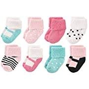 Luvable Friends Baby 8 Pack Newborn Socks, Mint Pink Stripes, 6-12 Months
