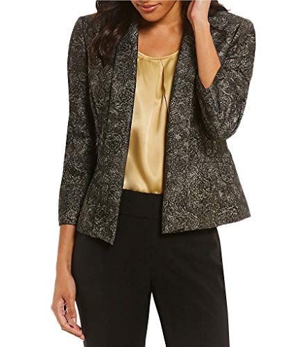Kasper Metallic Floral Jacquard 3/4 Sleeve Jacket