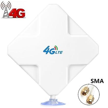 4G LTE Antenna SMA Connector de Alto Rendimiento. Dual Mimo Amplificador de Señal Exterior Receptor 35dbi Alto Ganancia de Red Larga Distancia ...