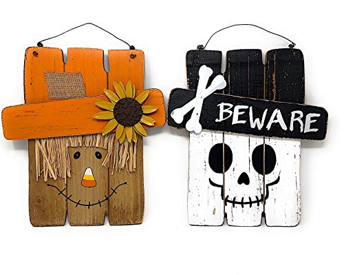 D.I. Inc Halloween Harvest Fall Decoration Wall Front Door Wreath Hanging Wood Decor Indoor Outdoor Interchangeable Double Sides 2 in 1 (13'' x 12'') by D.I. Inc (Image #7)