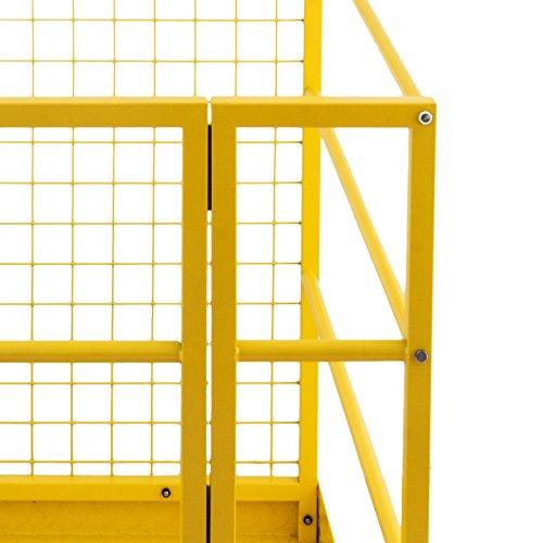 Mophorn Forklift Safety Cage 45 x 43 Inch Fork Lift Work Platform 1200lbs Capacity Heavy Duty Steel Forklift Safety Lift Basket Aerial Fence Rails Yellow Pallet loader Fork lift Safety Cage (45''x43'') by Mophorn (Image #7)