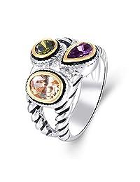 Purple Olive Champage Cubic Zirconia Women Eternity Rope Statement Ring, Rhodium Black 2 Tone Plating, Size 5-10