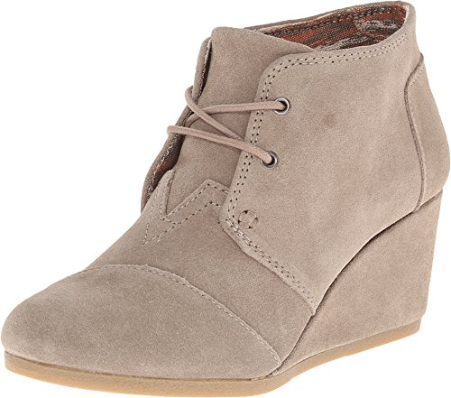 Toms Womens Desert Wedge Boot Taupe Suede Size (Desert Wedges)