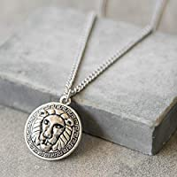 Handmade Long Stainless Steel Necklace For Men Set With lion Pendant By Galis Jewelry - lion Necklace For Men - Jewelry For Men - Silver Necklace For Men