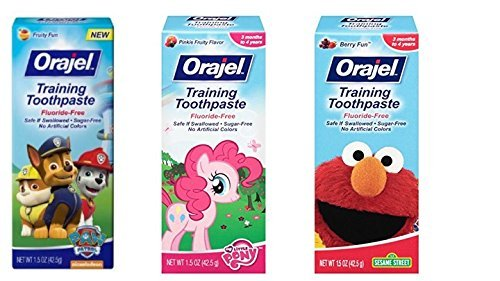 Orajel Toddler Training Toothpaste 3 Flavor Variety Pack 1.5 Oz Each (3 pack variety)