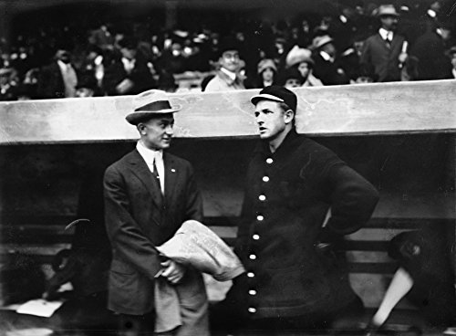 Ty Cobb (Tigers) and Christy Mathewson (Giants) at World Series, Baseball Photo (16x24 SIGNED Print Master Giclee Print w/Certificate of Authenticity - Wall Decor Travel Poster)