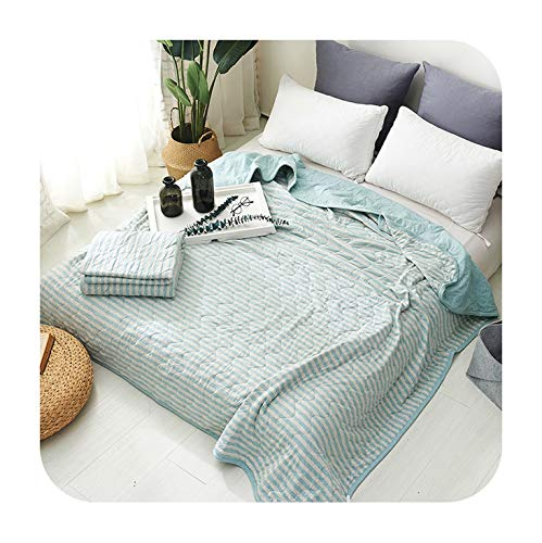 Barry-Story Beddings 1pc Egyptian Cotton Pure Lattice Summer Blanket Air Conditioning Quilt 4 Size Suitable for Children Adult Free #/,150x200cm 1200g,-BG-ZZ-Water Blue