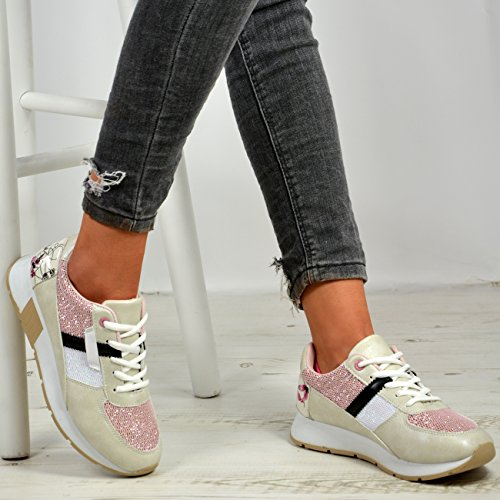 New Womens Ladies Lace up Running Gym Fashion Trainers Sneakers Shoes Sizes White 9nTIkV3