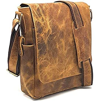 2bd1a131a913 PURPLE RELIC  11-inch Leather Man Bag ~ Tablet Bag ~ Crossbody Messenger  Satchel (2 Rugged Tan)  Amazon.co.uk  Computers   Accessories