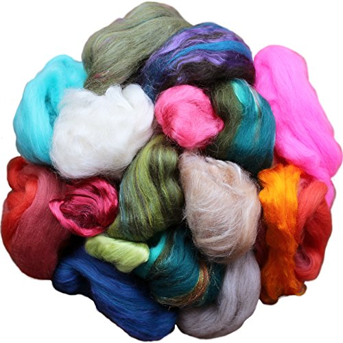Assorted Merino Roving Ends & Mixed Fiber Waste - Bulk Top Fiber for Felting, Spinning & Blending by Living Dreams Yarn