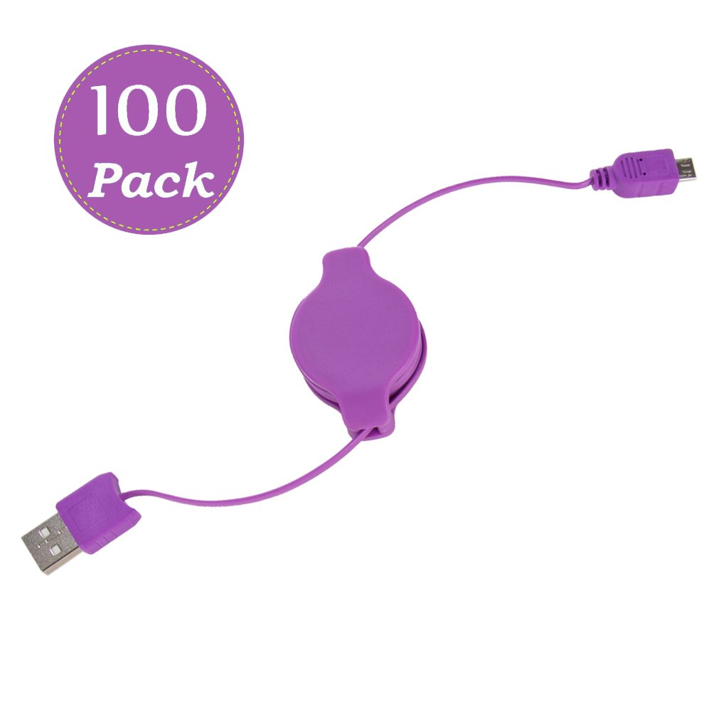 Retractable Micro-USB High-Speed Charge and Sync Performance Superior Cord 3.2' Type (A to B) 100-Pack(Purple)