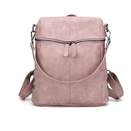 962b69e2d Amazon.com: Simple Style Backpack Women PU Leather Backpacks Girls School  Bags Fashion Vintage Solid Black Shoulder Bag (Color : Pink): Home & Kitchen
