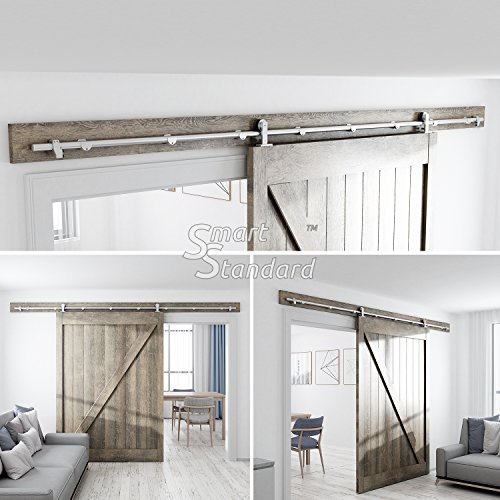10ft Heavy Duty Sturdy Sliding Barn Door Hardware Kit - Super Smoothly and Quietly - Simple and Easy to Install - Includes Step-by-Step Installation Instruction -Fit 60'' Wide Door Panel by SMARTSTANDARD (Image #1)