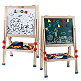 Kid's Art Easel Double Sided Adjustable Drawing Board Wooden Standing Art Easel - Dry-Erase Board, Chalkboard, Storage trays And Accessories