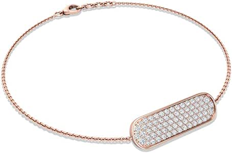Minimal Pave 1/2 CT Certified Diamond Bar Chain Bracelet, Bridesmaid Wedding Anniversary Adjustable Link Bracelets, Stackable Bracelet Gifts for Women