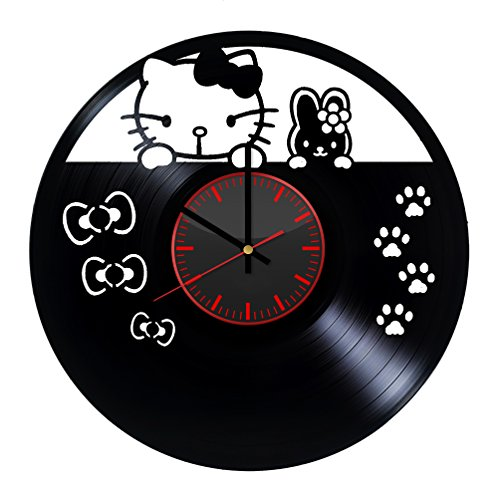 Hello Kitty Design Vinyl Record Wall Clock