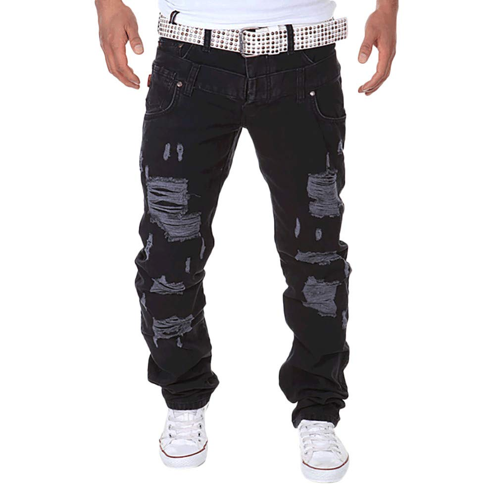 PASATO Fashion Men's Casual Solid Loose Patchwork Ripped Hole Trousers Cargo Pants, Clearance Sale(Black, 30