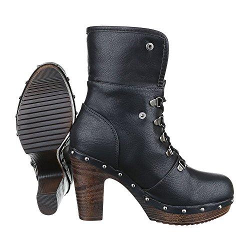 Ital-Design High Heel Stiefeletten Damenschuhe Schlupfstiefel Pump High Heels Schnürsenkel Stiefeletten Schwarz CL116