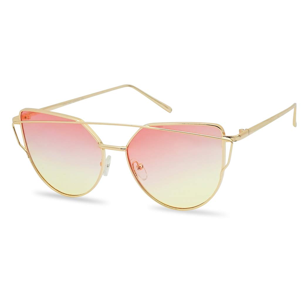 Oversized Flat Two Tone Crossbar Cat Eye Sunglasses Unique High Fashion Shades for Women (Gold Frame | Pink Yellow) by SunglassUP