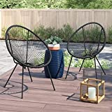 Acapulco Chair All Weather Resort Grade Outdoor Patio Sun Chair 2 Piece Set, Papasan Chair(Black)