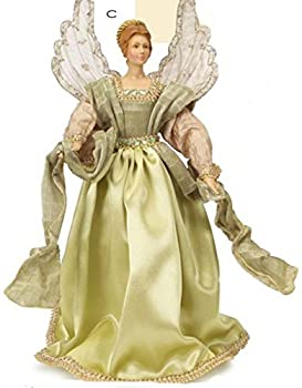 """18"""" Moss Green and Natural Tan Decorative Angel Tree Topper - Unlit"""