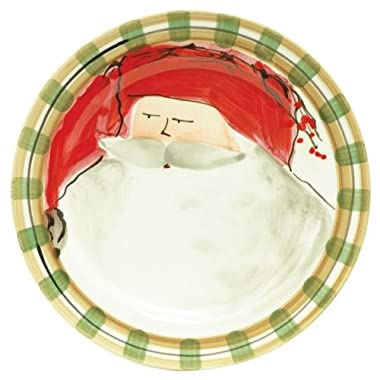 Vietri Old St. Nick Dinner Plate - Red Hat, Handpainted Italian Stoneware
