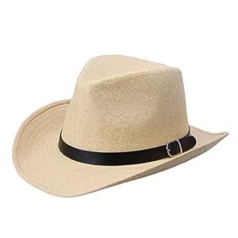Willtoo Summer Men Straw Hat Cowboy Hat (Light Brown)