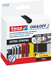 tesa On & Off Extra Strong Klittenband - Sterke zelfklevende klittenbandtape - Zware voorwerpen bevestigen zonder boren - Zwart - Rol van 5 cm x 100 cm