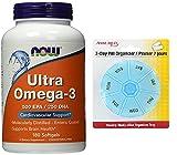 AHORA Ultra Omega 3 pescado aceite, 180 cápsulas con gratis 7 días plástico píldora organizadores