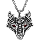 Woogge Norse Vikings Vintage Pendant Men's Necklace Green Red Eye Wolf Head Animal Jewelry