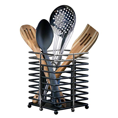 Utensil Holder Collection - The Macbeth Collection Free Standing Oversized Cutlery Basket Holder, Cooking Utensils, Kitchen Tools, Countertop & Cabinet, Chrome, Over Over Sized